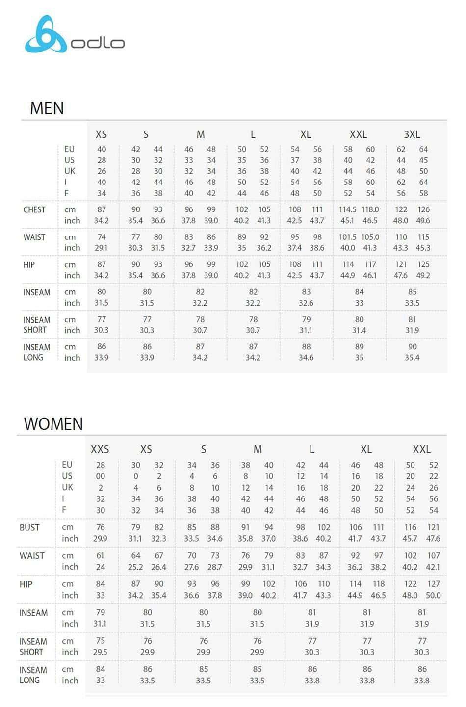 Dimensioni, dimensioni del marchio Odlo