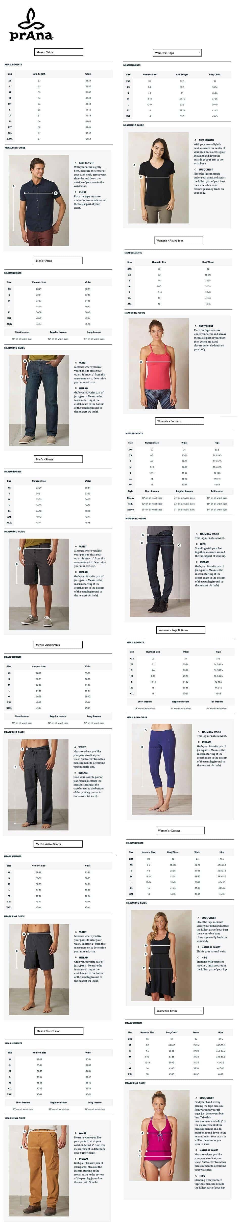 Dimensioni, dimensioni del marchio prAna